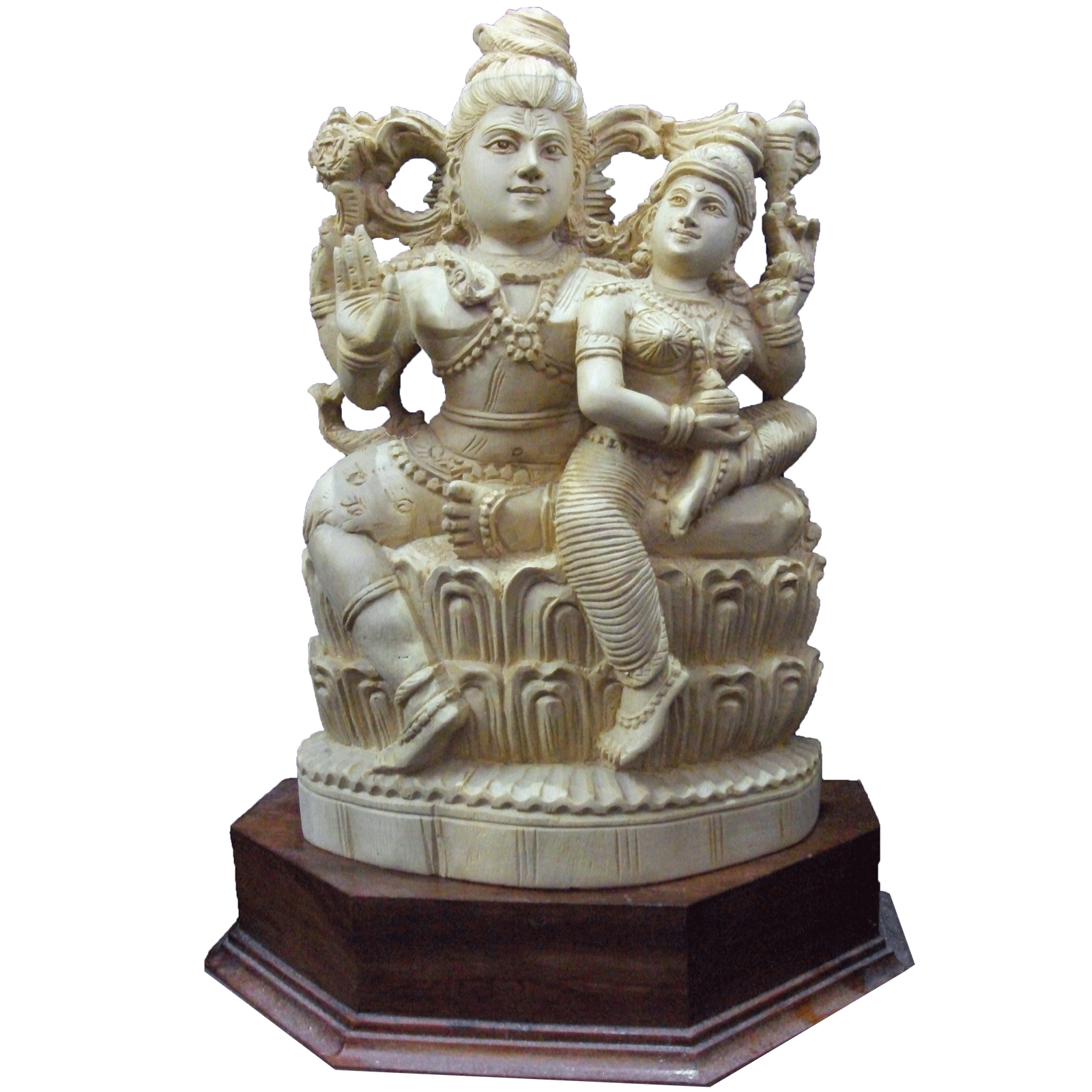 Shiva and Parvathy sitting position wooden statue