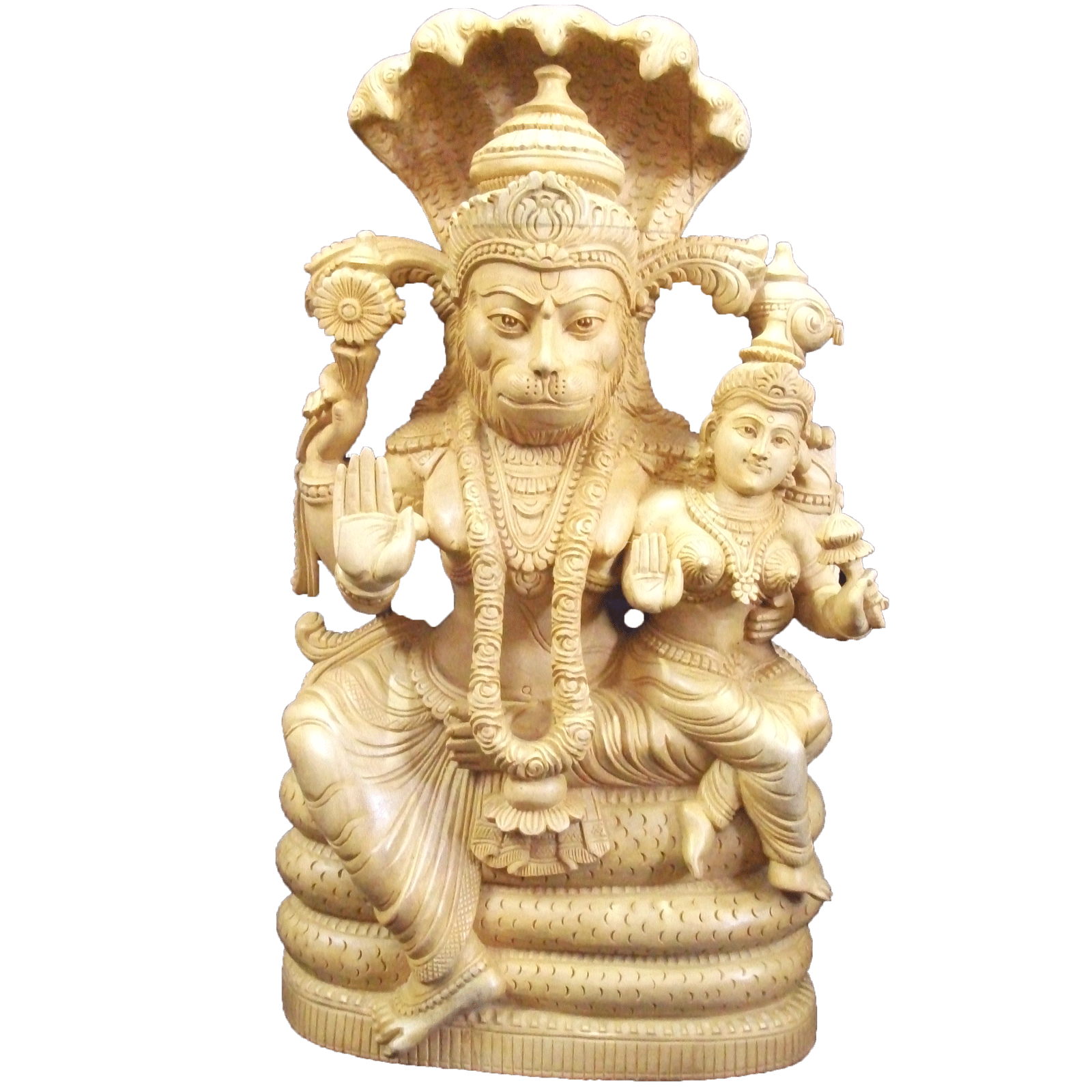 Lakshmi Narasimham Wood Statue