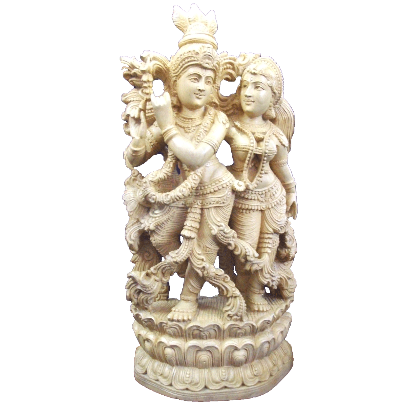 Radha and Krishnan wooden Statue