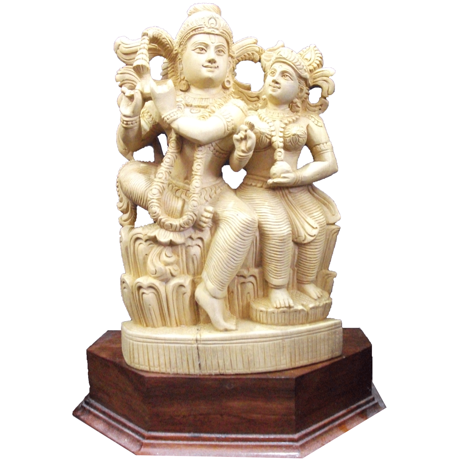 Radha and Krishnan sitting position wooden Statue