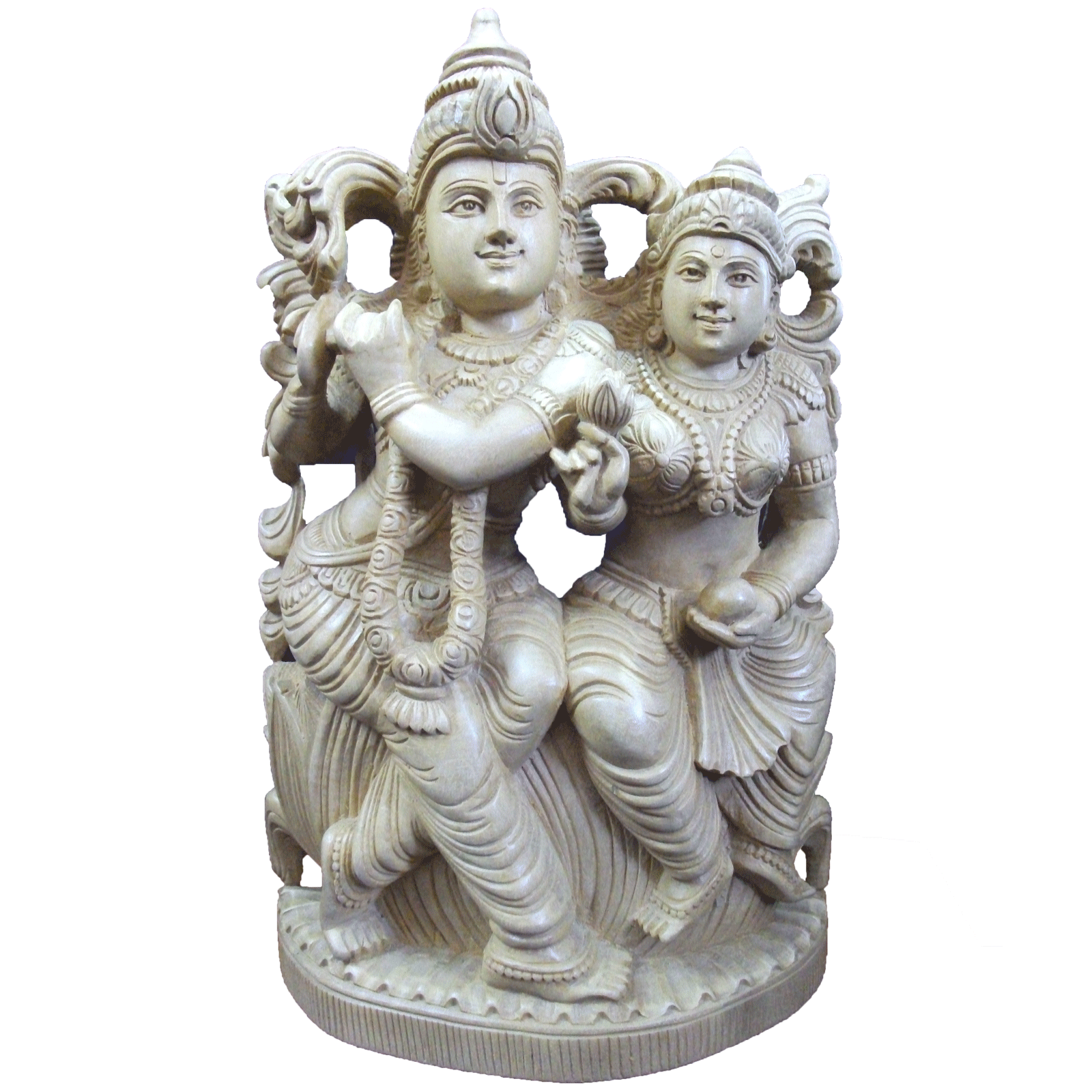 Radha and Krishnan in lotus wooden Statue