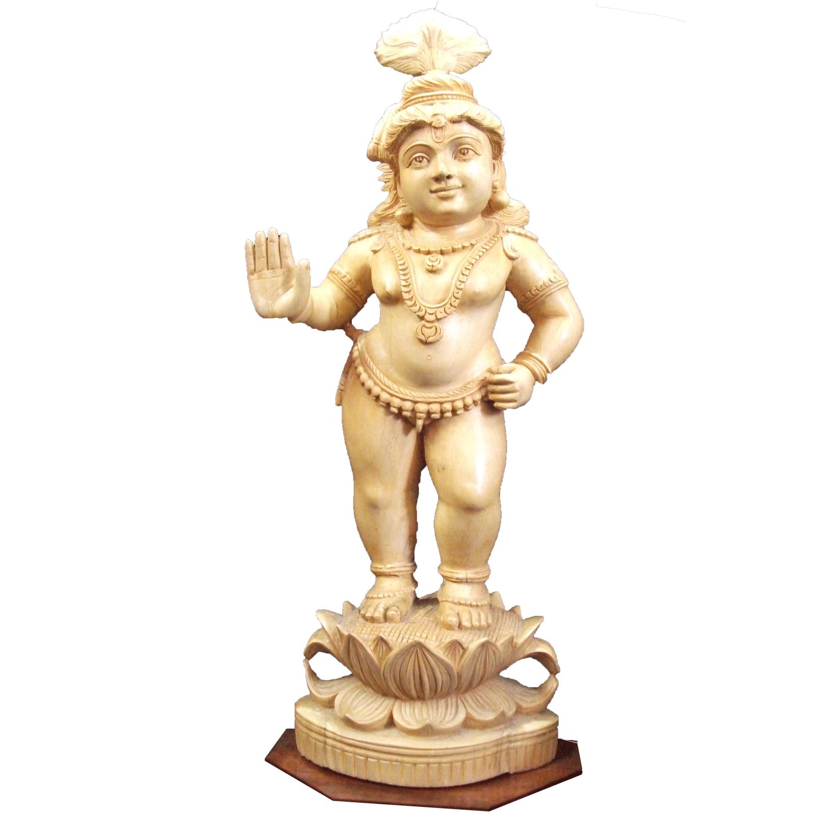 Unnikrishnan standing Position Wooden statue